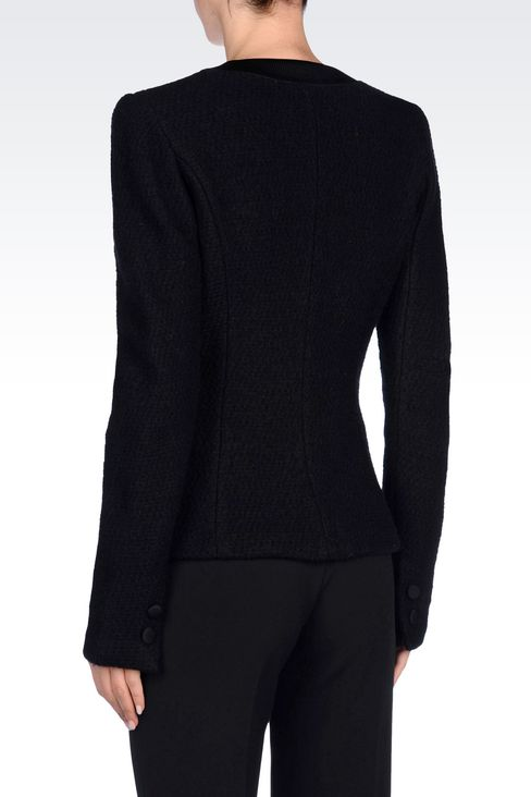 JACKET IN BOILED WOOL: One button jackets Women by Armani - 4