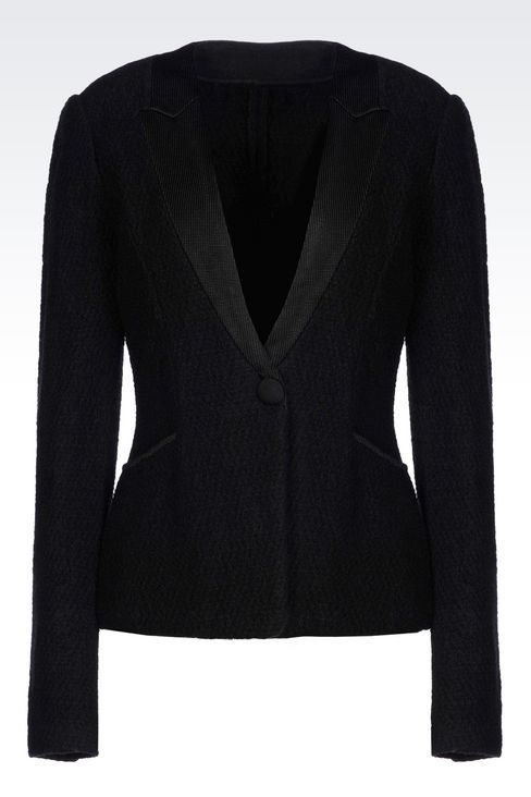 JACKET IN BOILED WOOL: One button jackets Women by Armani - 1