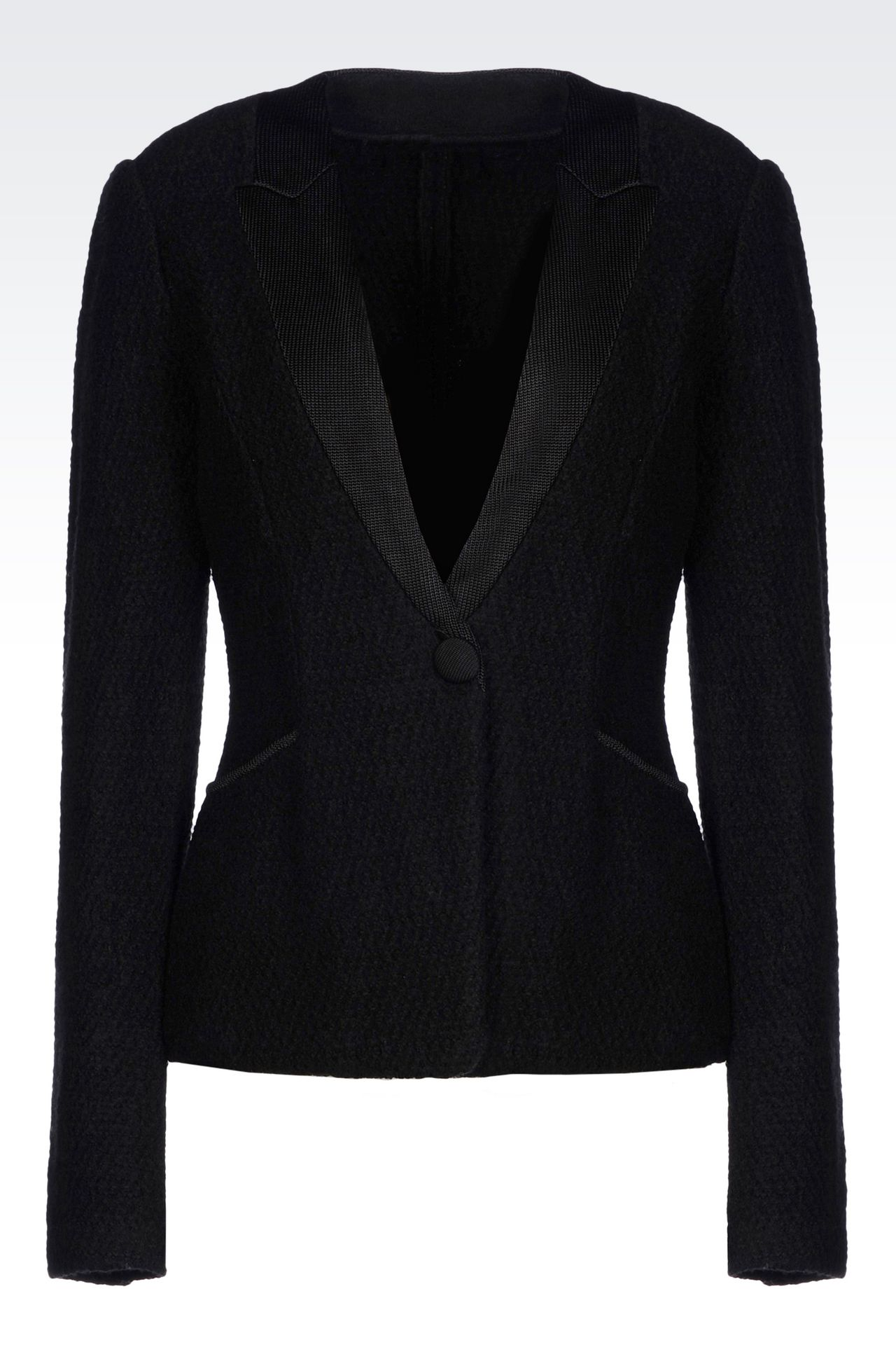 JACKET IN BOILED WOOL: One button jackets Women by Armani - 0