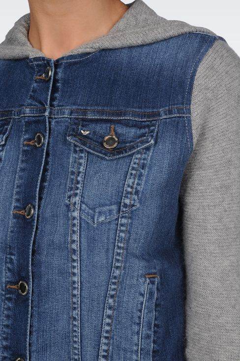 HOODED JACKET IN DENIM AND VISCOSE: Denim jackets Women by Armani - 5