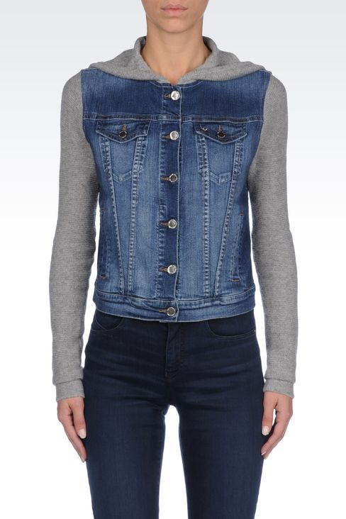 HOODED JACKET IN DENIM AND VISCOSE: Denim jackets Women by Armani - 3