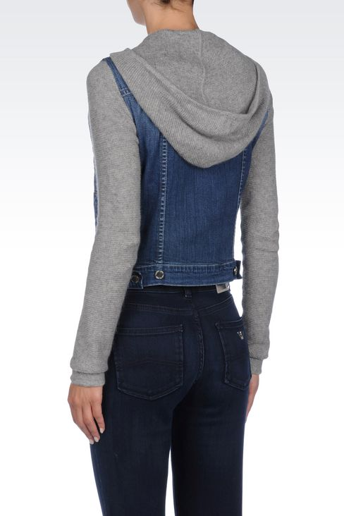 HOODED JACKET IN DENIM AND VISCOSE: Denim jackets Women by Armani - 4