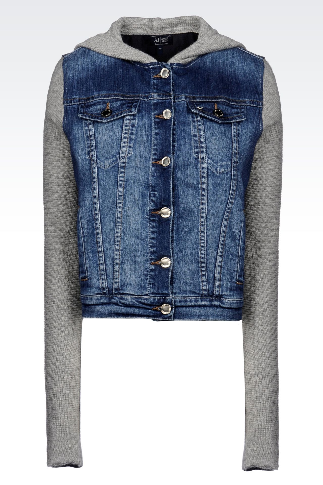 HOODED JACKET IN DENIM AND VISCOSE: Denim jackets Women by Armani - 0