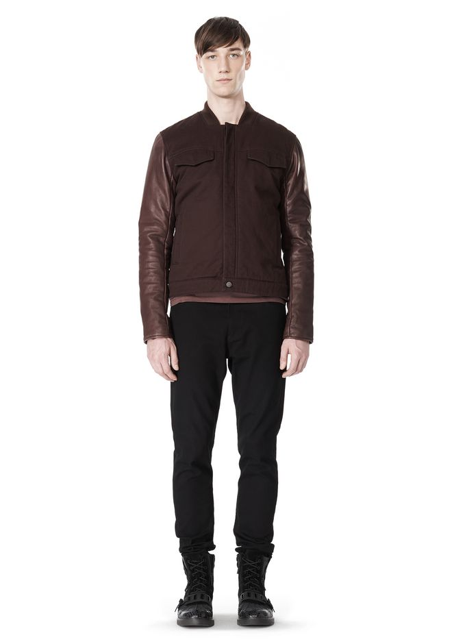 T by ALEXANDER WANG COTTON CANVAS TWILL JACKET WITH LEATHER SLEEVES Jacket Adult 12_n_f