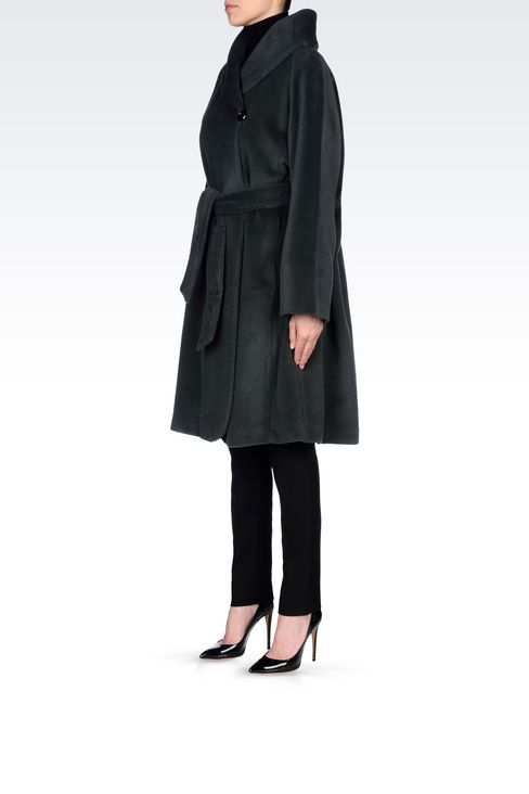 WOOL AND CASHMERE COAT WITH BELTED WAIST: Single-breasted coats Women by Armani - 3