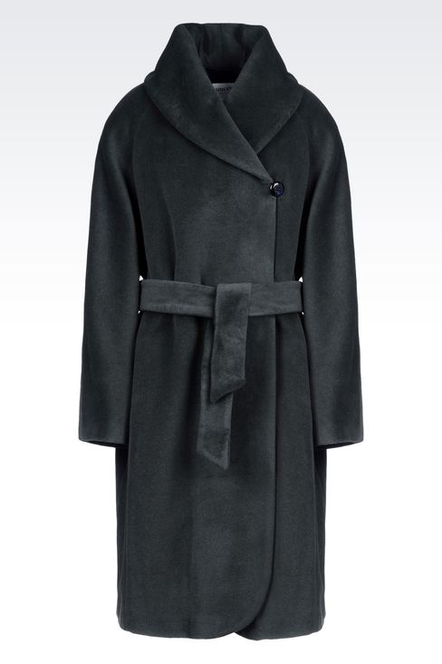 WOOL AND CASHMERE COAT WITH BELTED WAIST: Single-breasted coats Women by Armani - 1