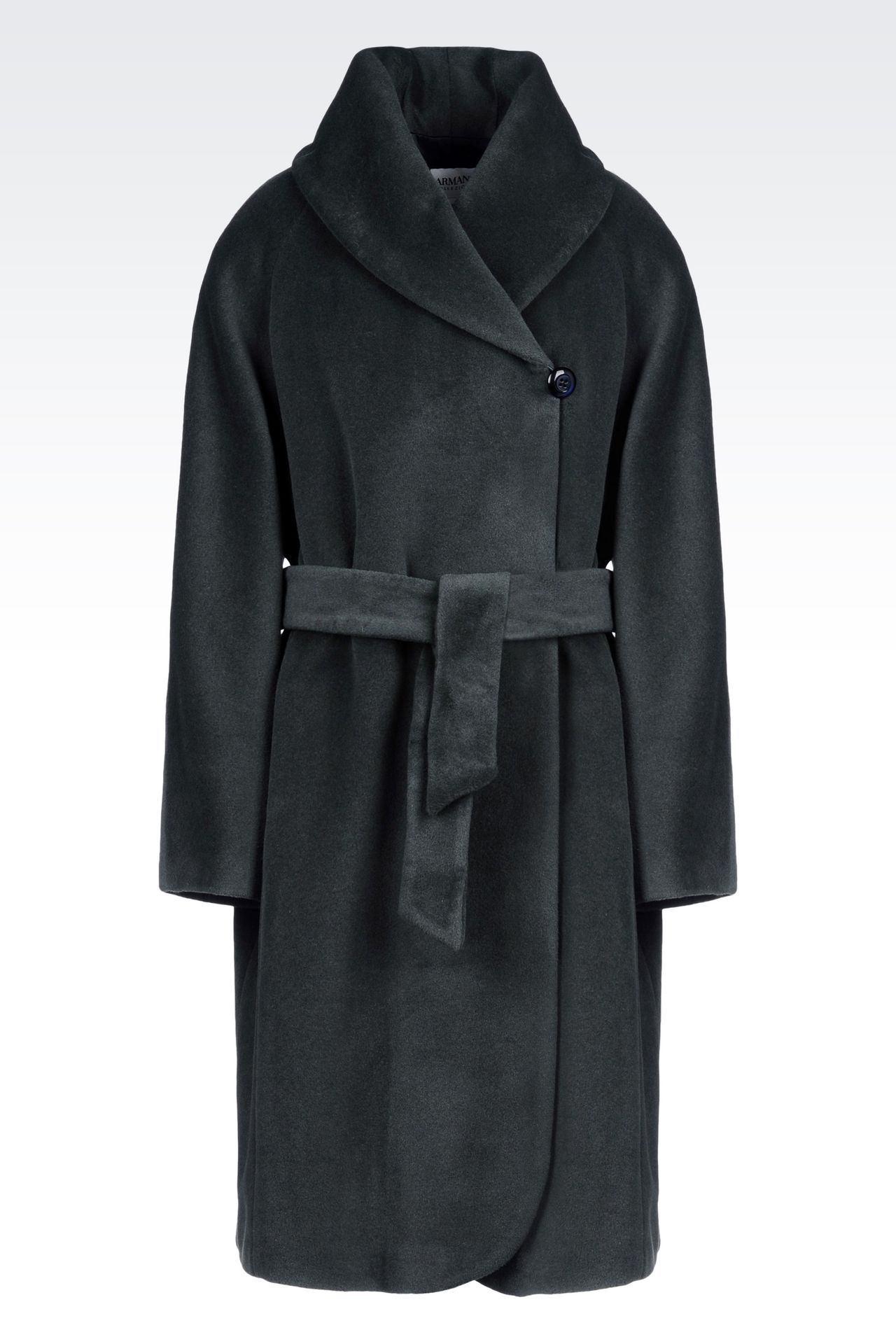 WOOL AND CASHMERE COAT WITH BELTED WAIST: Single-breasted coats Women by Armani - 0