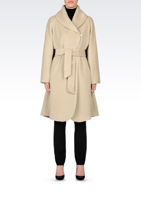 WOOL AND CASHMERE COAT WITH BELTED WAIST: Single-breasted coats Women by Armani - 2