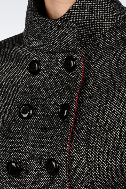 DOUBLE-BREASTED PEA COAT IN WOOL BLEND: Dust jackets Women by Armani - 5