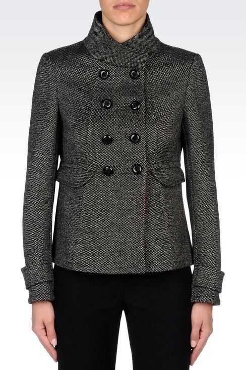 DOUBLE-BREASTED PEA COAT IN WOOL BLEND: Dust jackets Women by Armani - 3