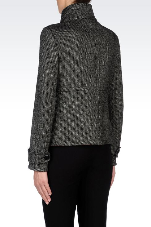 DOUBLE-BREASTED PEA COAT IN WOOL BLEND: Dust jackets Women by Armani - 4