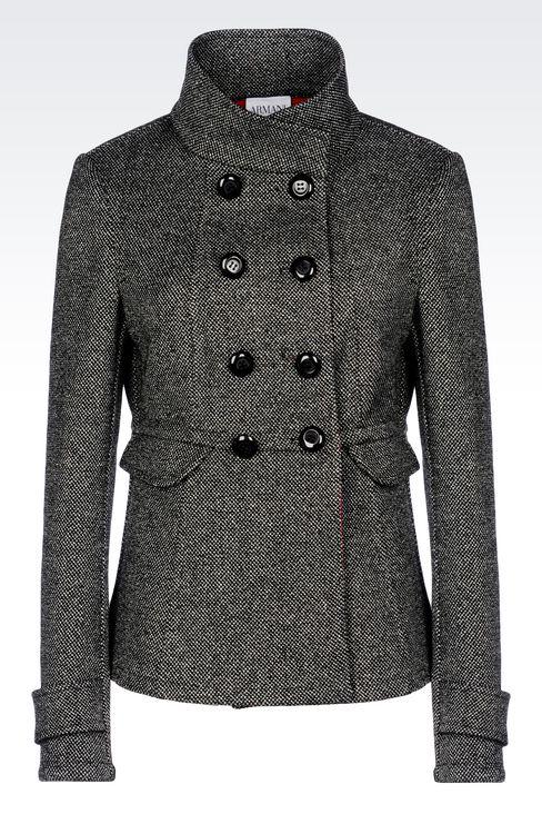 DOUBLE-BREASTED PEA COAT IN WOOL BLEND: Dust jackets Women by Armani - 1