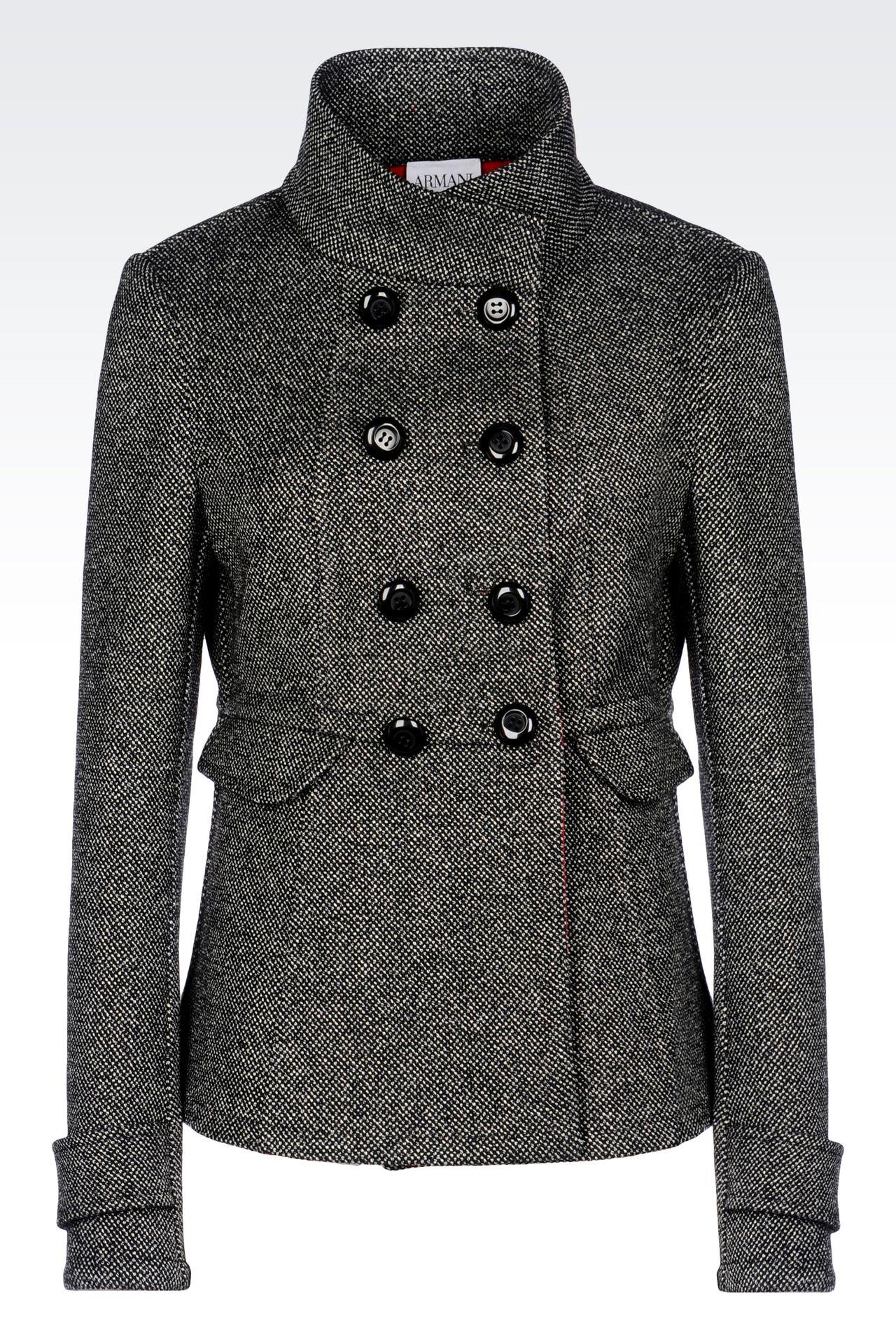 DOUBLE-BREASTED PEA COAT IN WOOL BLEND: Dust jackets Women by Armani - 0