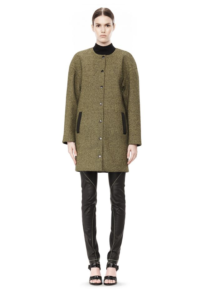T by ALEXANDER WANG MESH BONDED NEOPRENE COLLARLESS COCOON COAT