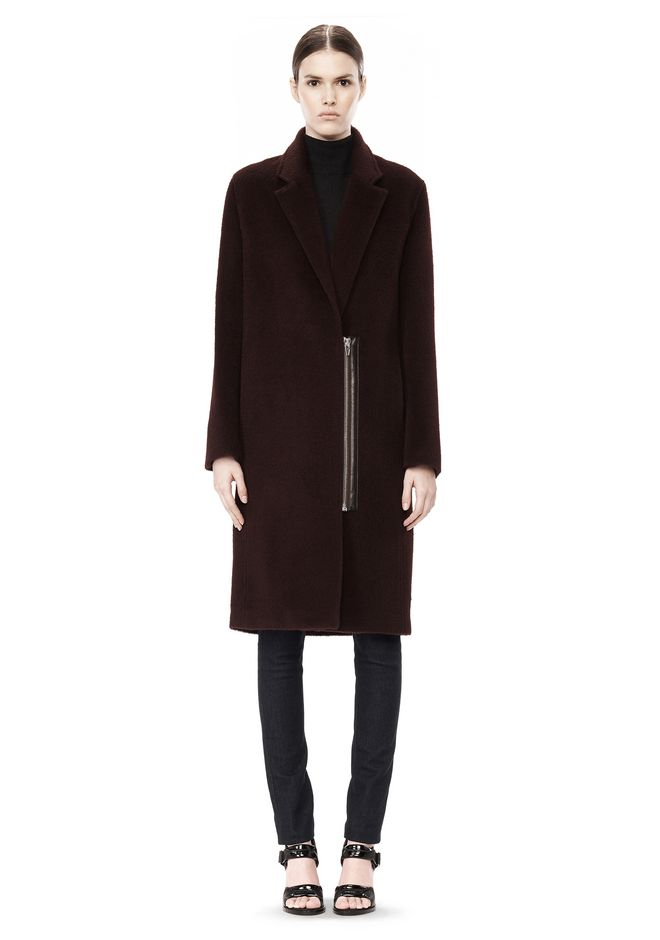 T by ALEXANDER WANG MOHAIR ALPACA WOOL FELT LONG CAR COAT