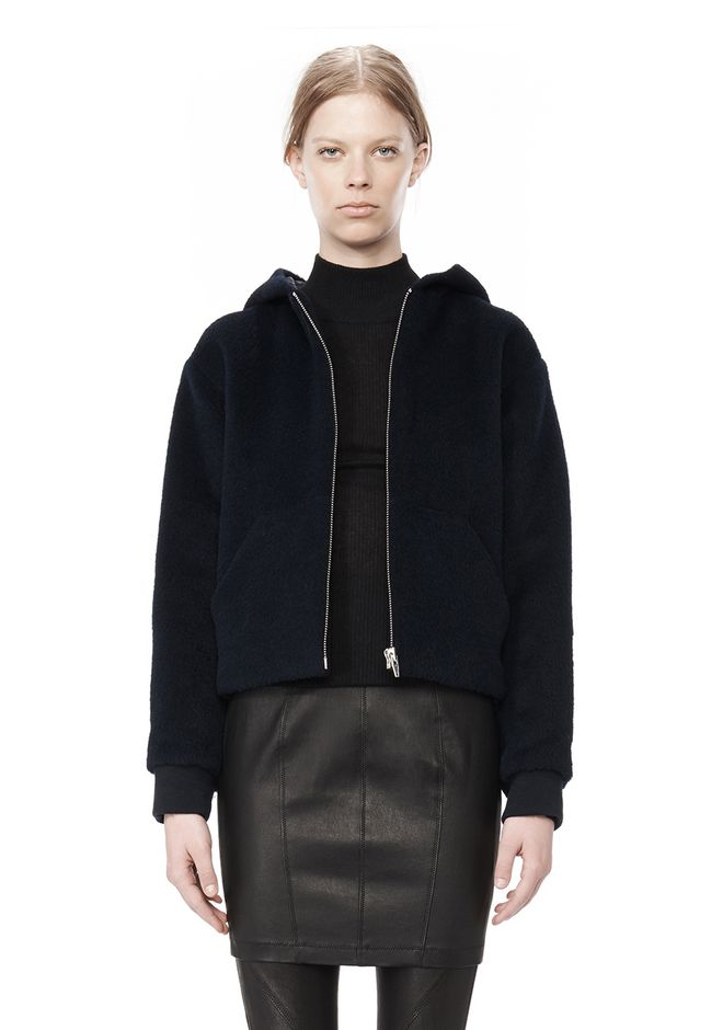 T by ALEXANDER WANG MOAHIR ALPACA WOOL FELT HOODED JACKET Jacket Adult 12_n_d