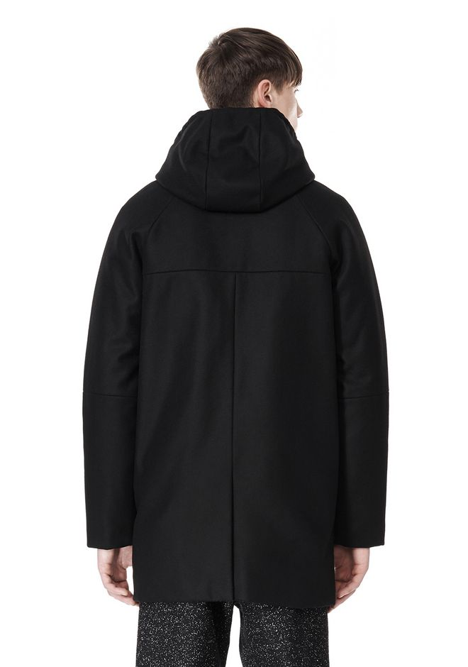 T by ALEXANDER WANG WOOL NYLON FELT & MESH COMBO DUFFEL COAT JACKETS AND OUTERWEAR  Adult 12_n_d