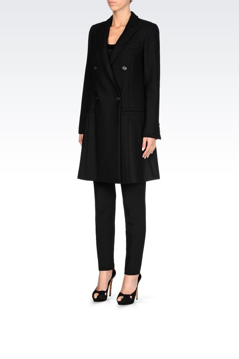 DOUBLE-BREASTED RUNWAY COAT IN BROADCLOTH: Double-breasted coats Women by Armani - 3