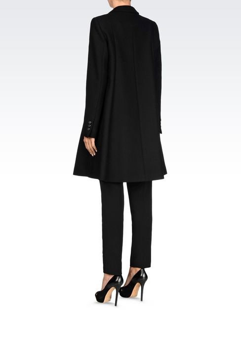 DOUBLE-BREASTED RUNWAY COAT IN BROADCLOTH: Double-breasted coats Women by Armani - 4