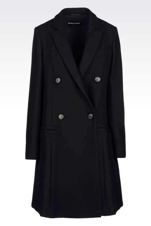 DOUBLE-BREASTED RUNWAY COAT IN BROADCLOTH: Double-breasted coats Women by Armani - 1