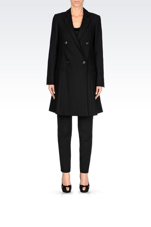 DOUBLE-BREASTED RUNWAY COAT IN BROADCLOTH: Double-breasted coats Women by Armani - 2
