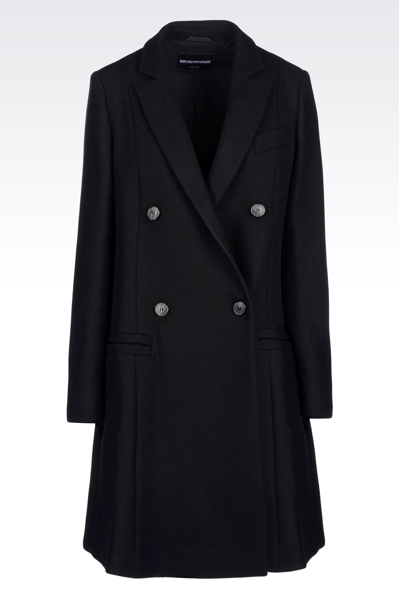 DOUBLE-BREASTED RUNWAY COAT IN BROADCLOTH: Double-breasted coats Women by Armani - 0
