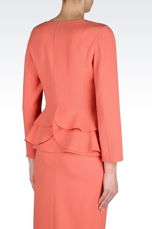 PEPLUM JACKET IN CRÊPE: One button jackets Women by Armani - 3