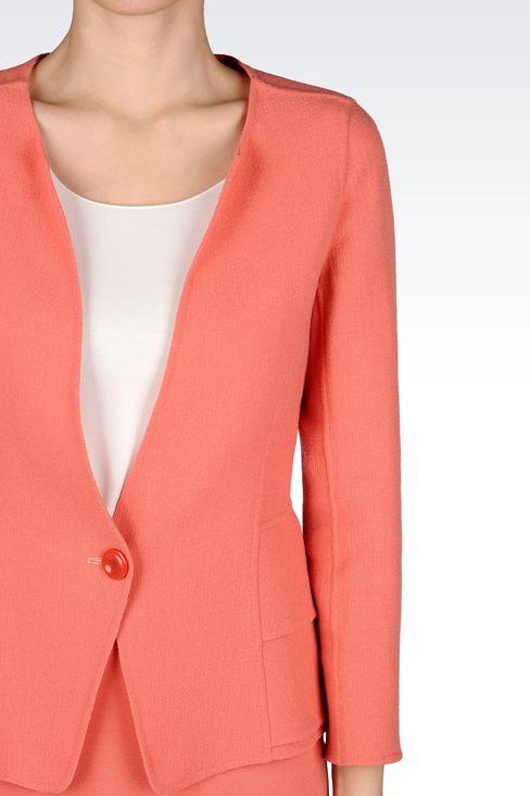 PEPLUM JACKET IN CRÊPE: One button jackets Women by Armani - 4