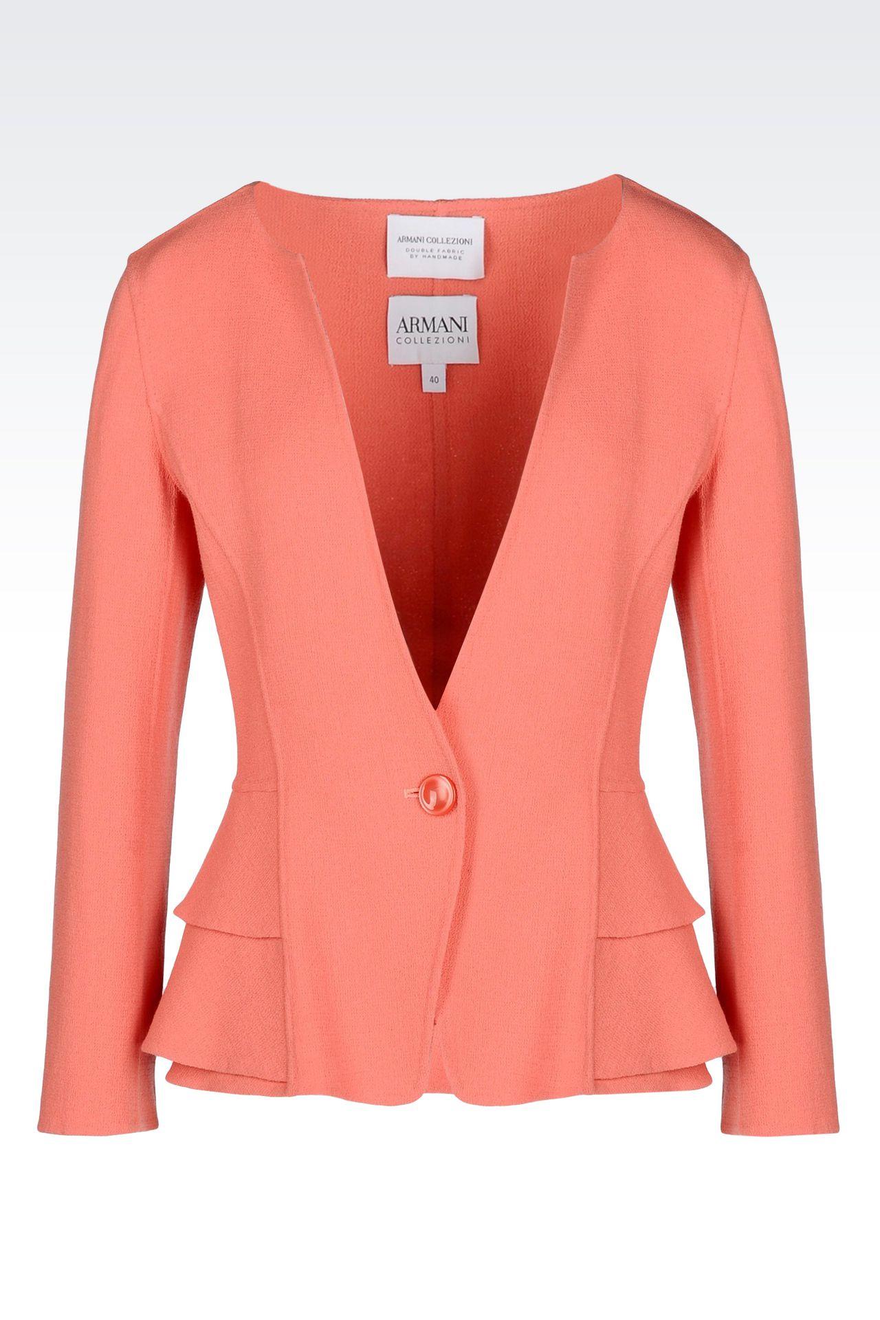 PEPLUM JACKET IN CRÊPE: One button jackets Women by Armani - 0