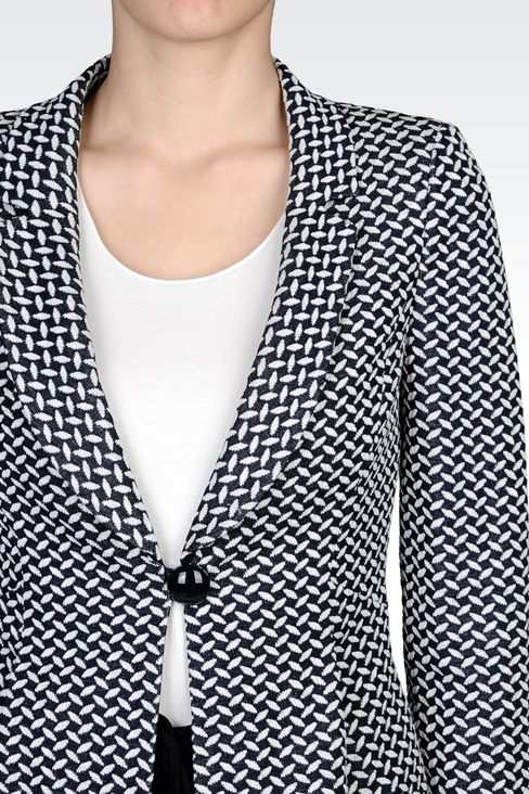 JACKET IN JACQUARD LINEN AND COTTON: One button jackets Women by Armani - 4