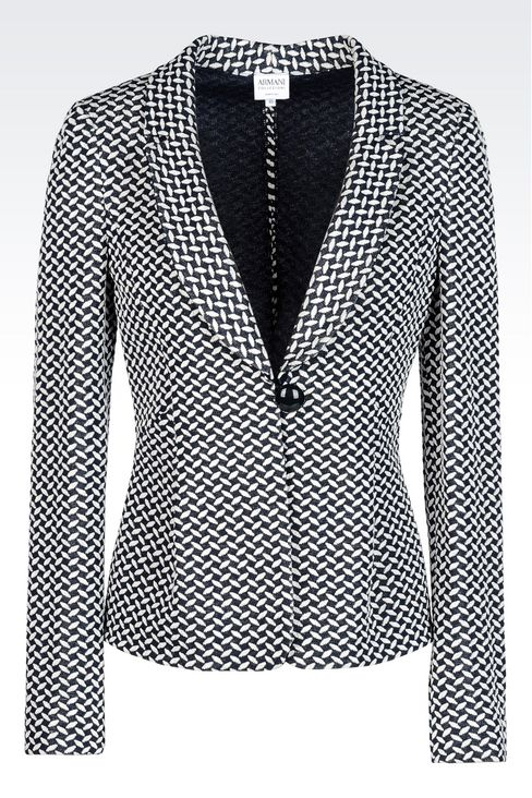 JACKET IN JACQUARD LINEN AND COTTON: One button jackets Women by Armani - 1