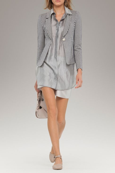 JACKET IN JACQUARD LINEN AND COTTON: One button jackets Women by Armani - 2
