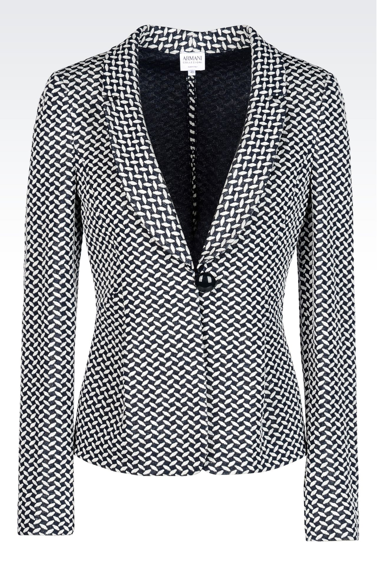 JACKET IN JACQUARD LINEN AND COTTON: One button jackets Women by Armani - 0