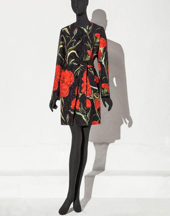 """ПАРЧОВОЕ ПАЛЬТО С ПРИНТОМ """"ГВОЗДИКИ"""" - Пальто - Dolce&Gabbana - Лето 2015"""