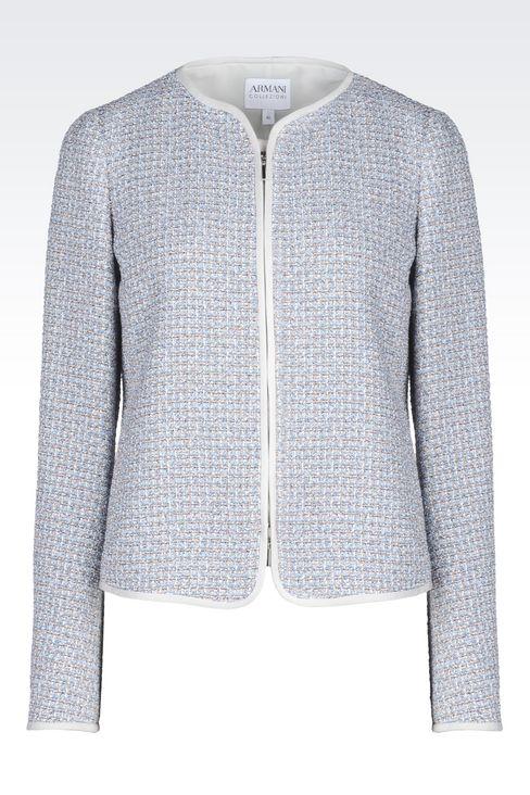 CREW NECK JACKET IN BOUCLÉ: Dinner jackets Women by Armani - 1