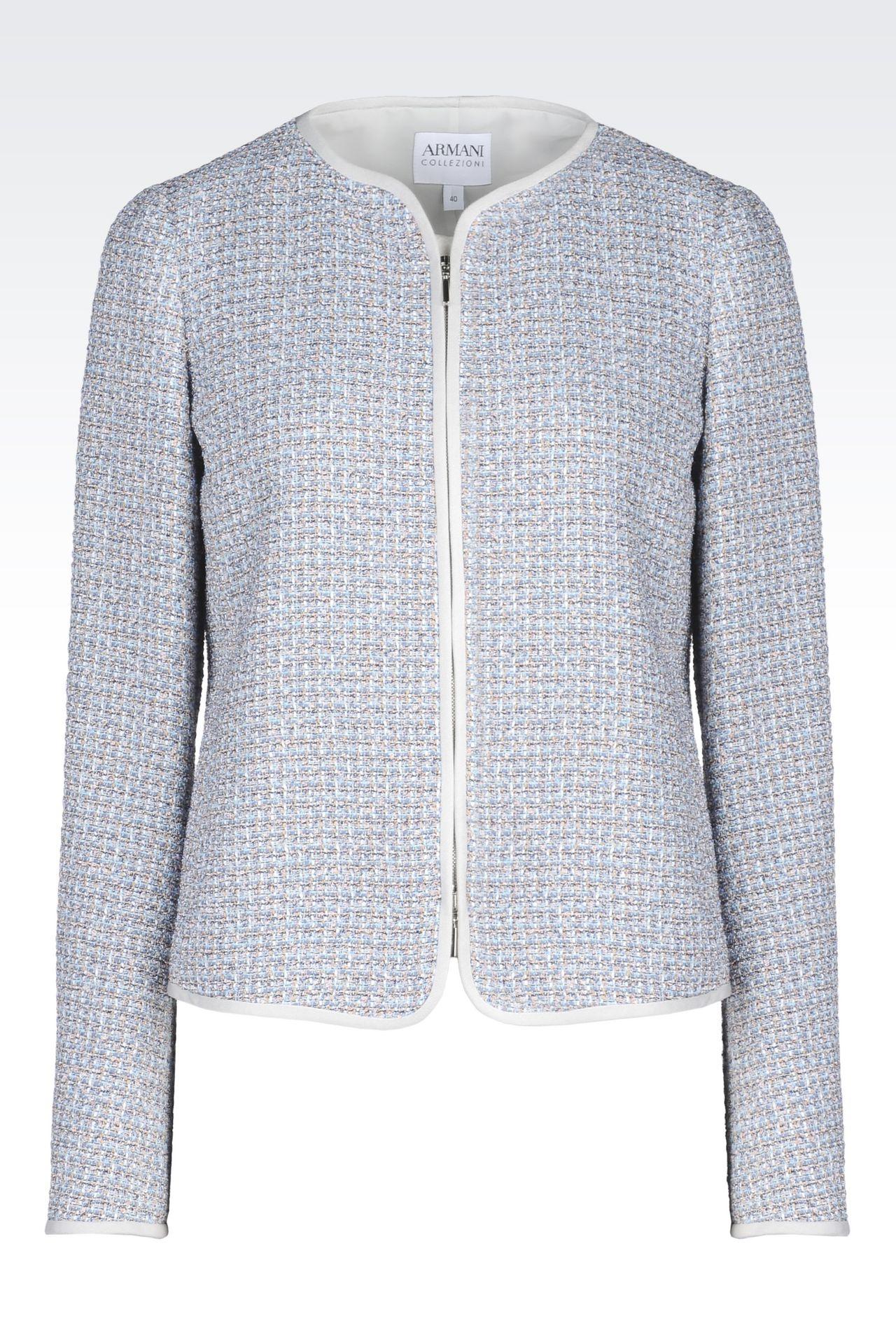 CREW NECK JACKET IN BOUCLÉ: Dinner jackets Women by Armani - 0