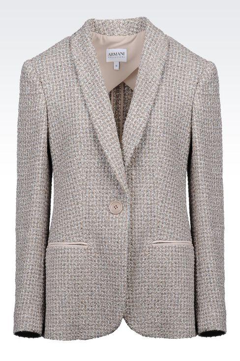 JACKET IN BOUCLÉ: One button jackets Women by Armani - 1