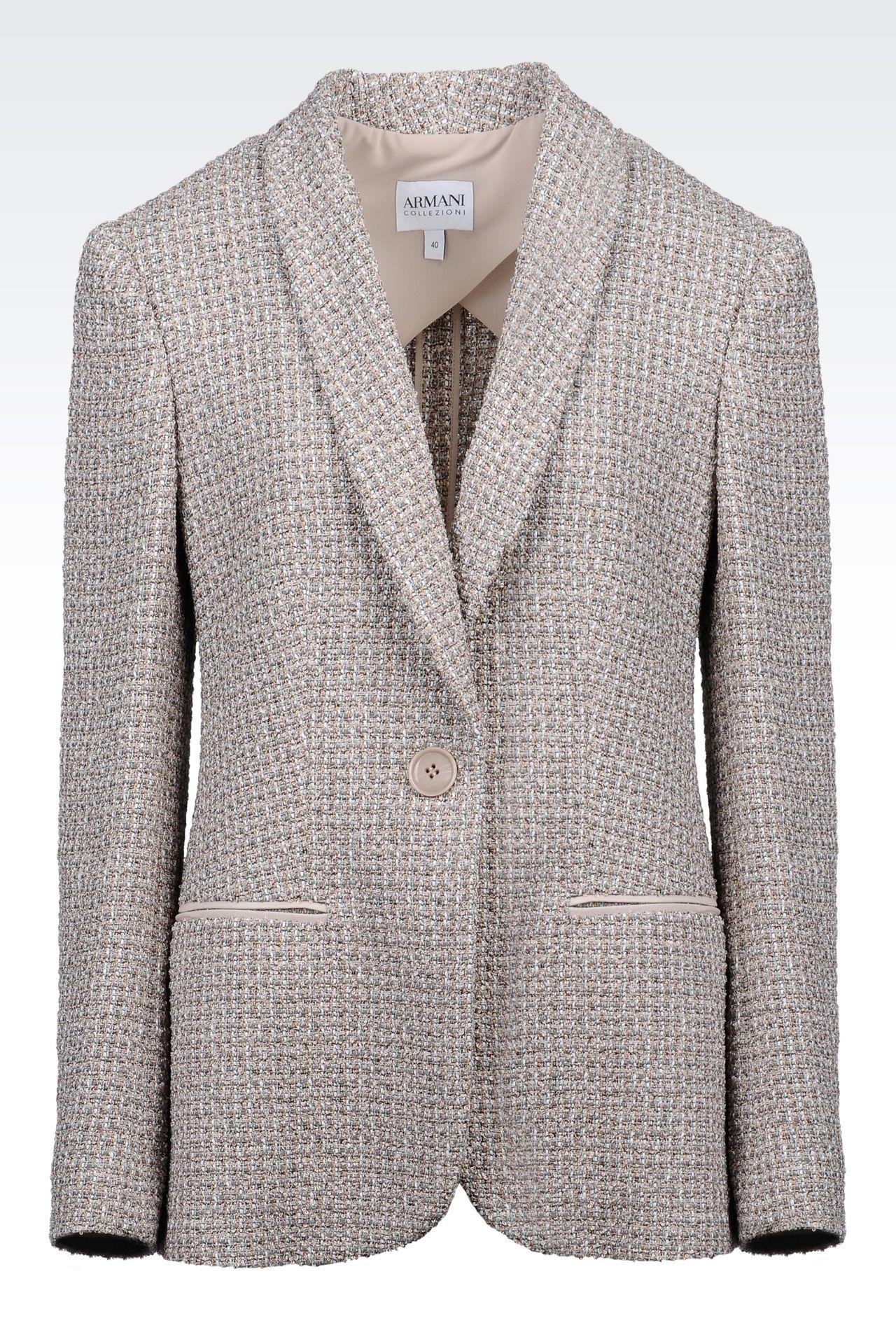 JACKET IN BOUCLÉ: One button jackets Women by Armani - 0
