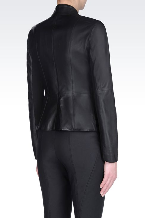 JACKET IN NAPA LAMBSKIN: Leather jackets Women by Armani - 3