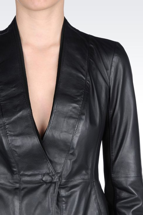 JACKET IN NAPA LAMBSKIN: Leather jackets Women by Armani - 4