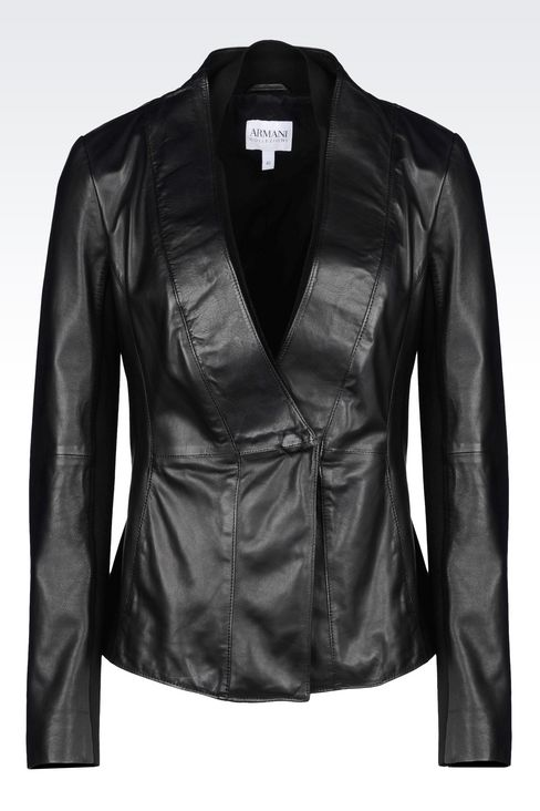 JACKET IN NAPA LAMBSKIN: Leather jackets Women by Armani - 1