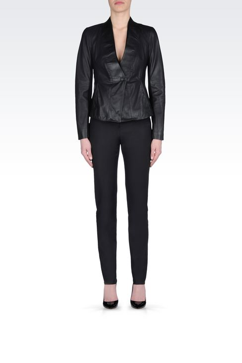 JACKET IN NAPA LAMBSKIN: Leather jackets Women by Armani - 2