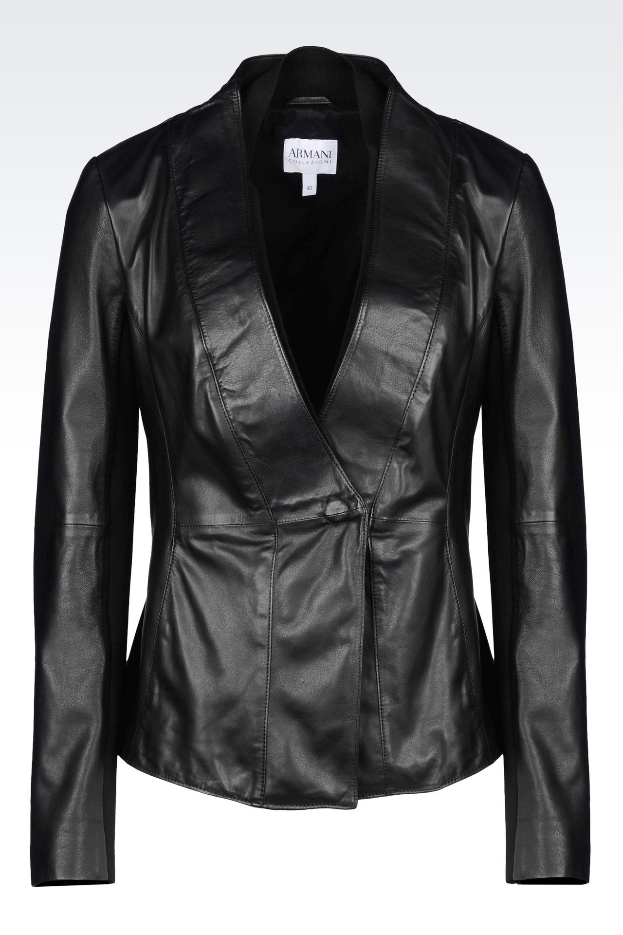JACKET IN NAPA LAMBSKIN: Leather jackets Women by Armani - 0