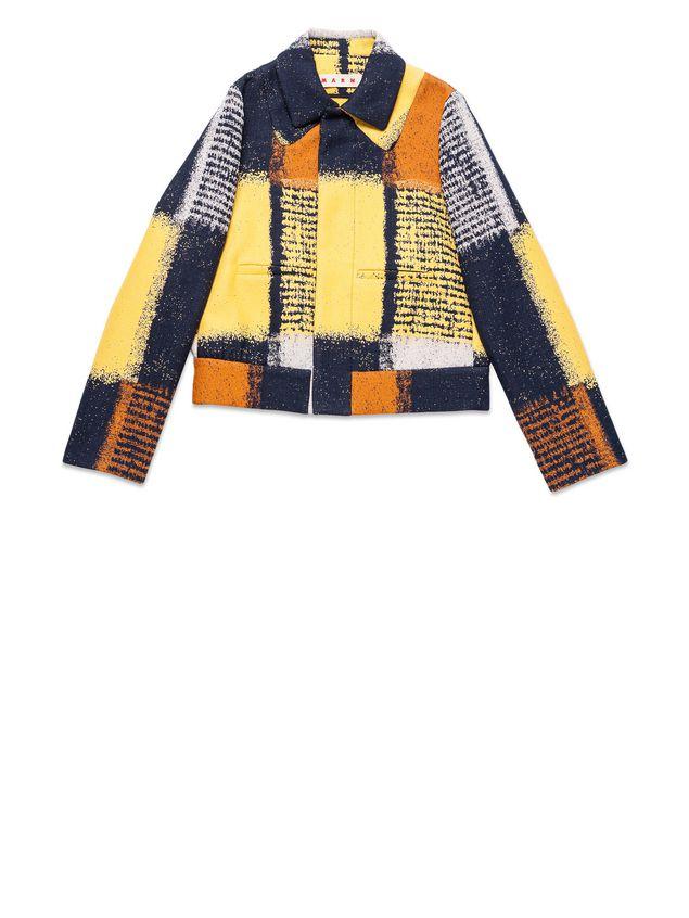 bomber 风格夹克,双尖领设计,其中一个为假领,长袖,手肘部位点缀褶皱
