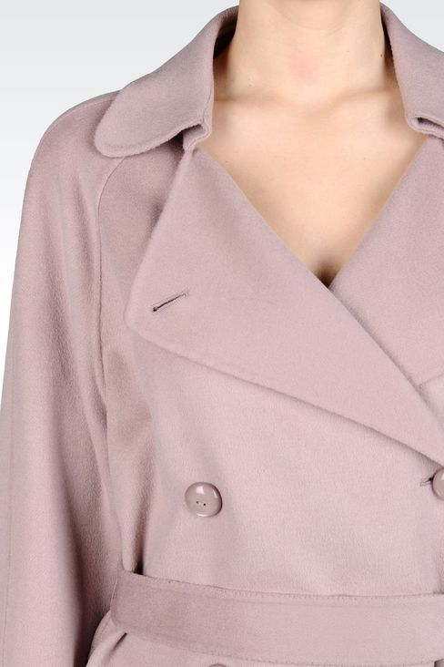 DOUBLE-BREASTED PEA COAT IN WOOL AND CASHMERE: Double-breasted coats Women by Armani - 4