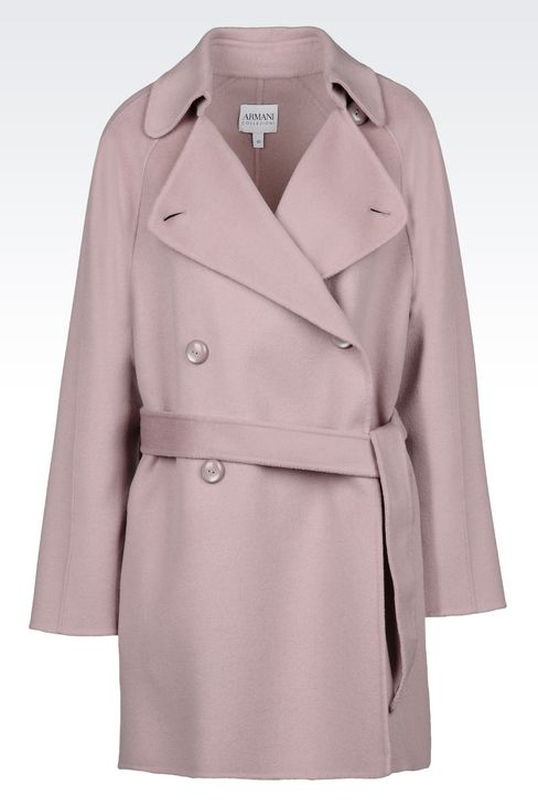 DOUBLE-BREASTED PEA COAT IN WOOL AND CASHMERE: Double-breasted coats Women by Armani - 1