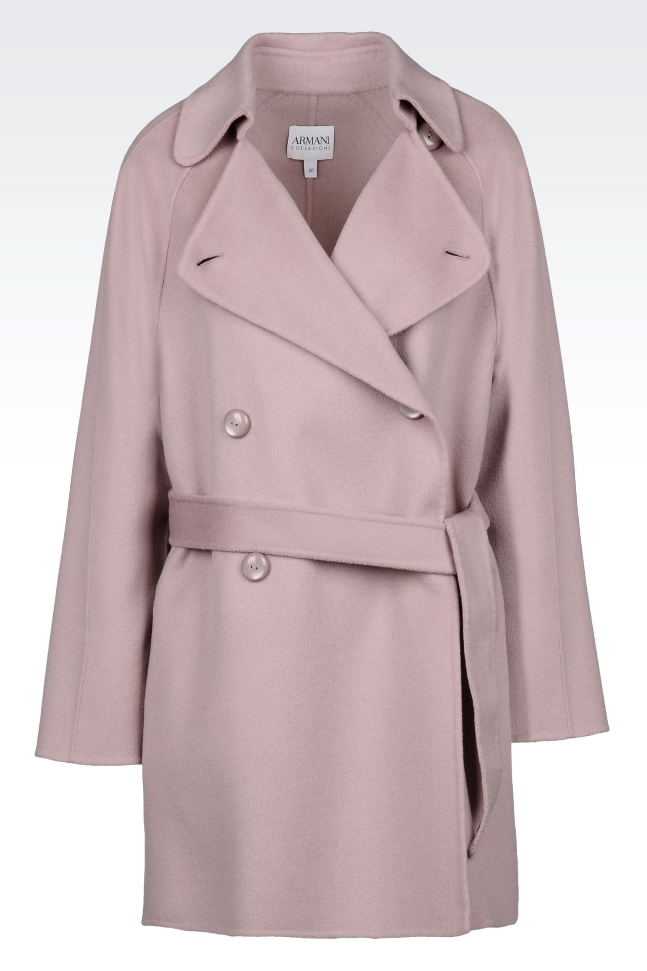 DOUBLE-BREASTED PEA COAT IN WOOL AND CASHMERE: Double-breasted coats Women by Armani - 0