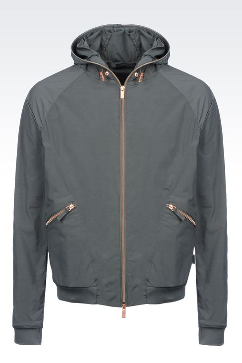 Armani Collezioni Men HOODED BOMBER IN TECHNICAL FABRIC - Armani.com