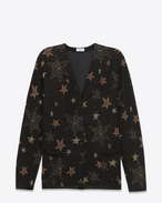 Oversized Cardigan in Black, Gold and Copper Star Knit Cotton, Lurex and Polyamide Jacquard