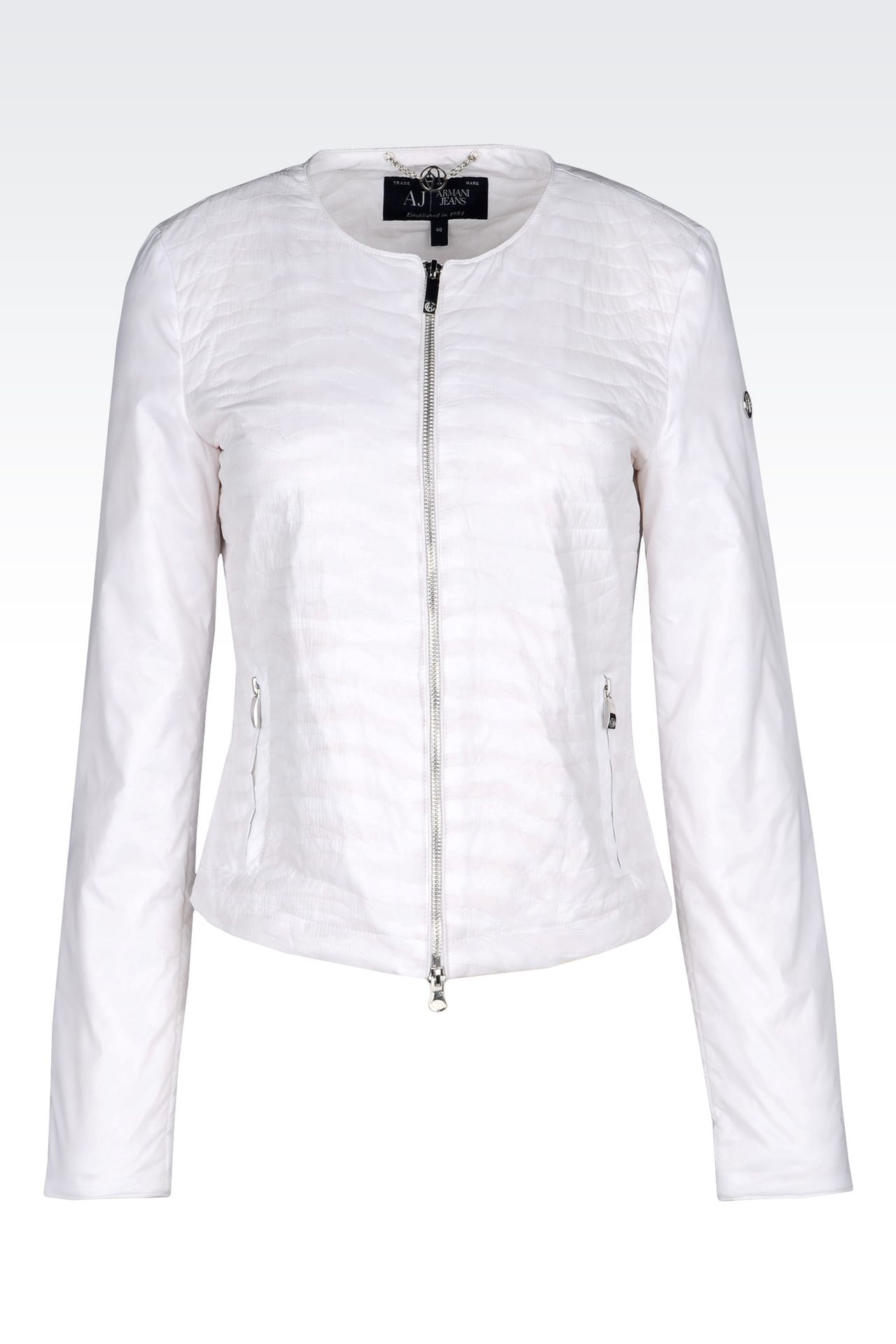 CREW NECK BLOUSON IN QUILTED NYLON: Dinner jackets Women by Armani - 0